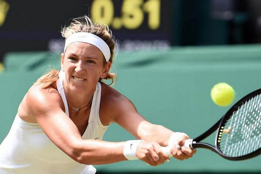 Victoria Azarenka returns to Heather Watson of Britain in their third round match during the Wimbledon Championships in London, Britain, on July 7, 2017.