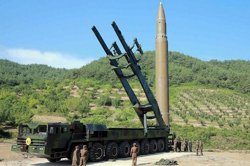 North Korea released this picture showing the ICBM that was launched.