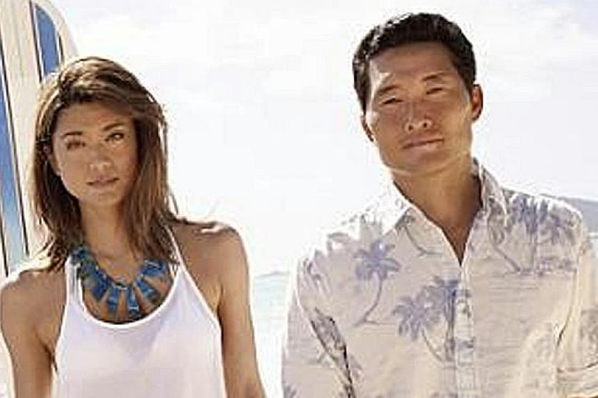 Grace Park and Daniel Dae Kim in Hawaii Five-0. They sought, and failed, to get the same salaries enjoyed by their Caucasian co-stars Alex O'Loughlin and Scott Caan.