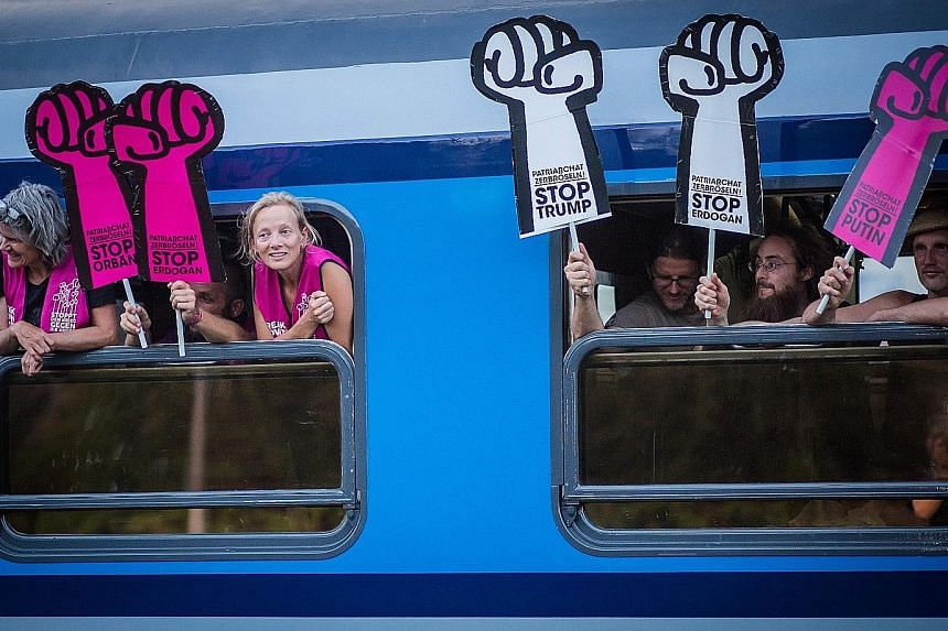 A special G-20 train arriving at a station in Kornwestheim, southern Germany, on Wednesday to pick up more activists heading to Hamburg to protest at the G-20 summit.