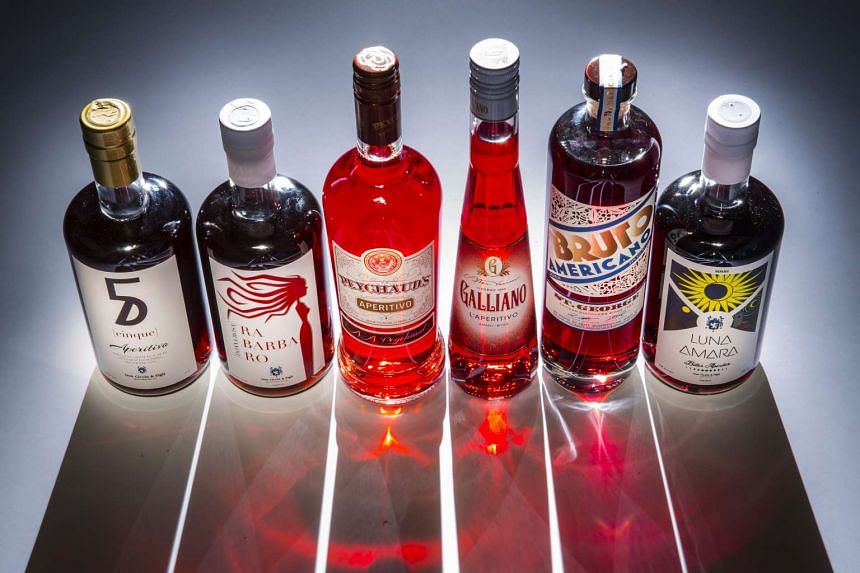 An assortment of aperitivos (from left): Cinque and Rabarbaro by Don Ciccio & Figli, Peychaud's Aperitivo by Sazerac, Galliano L'Aperitivo by Galliano, Bruto Americano of St. George Spirits and Luna Amara by Don