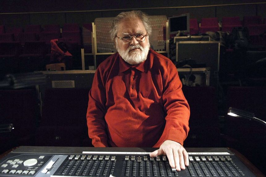 French composer Pierre Henry working in a studio in Paris in 2007.