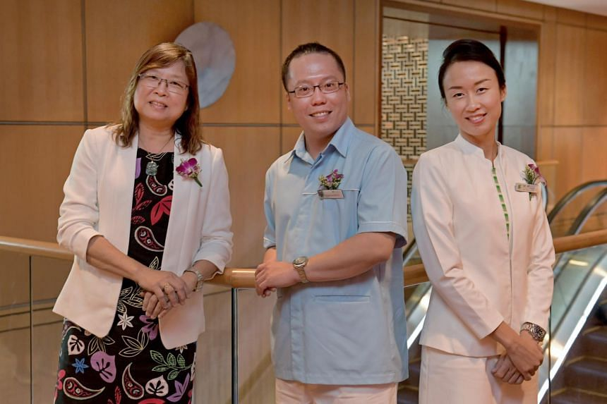 From left: Ms Tan Meng Guek, Mr Richard Low and Ms Ivy Tay at the launch of a new Community Nursing Scholarship on July 7, 2017.