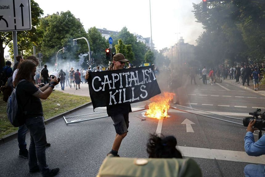Protesters at the G-20 summit in Hamburg, July 7, 2017.