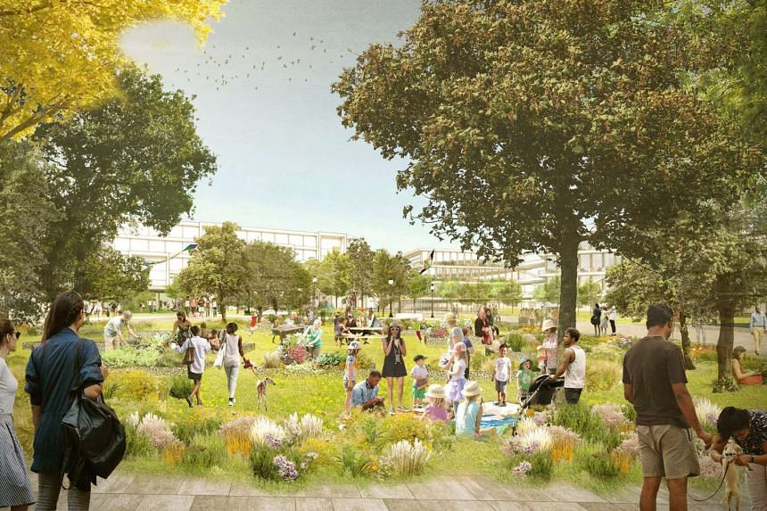 Architectural rendering of Facebook's proposed Willow Campus is seen in Menlo Park, California, US in this undated photo obtained by Reuters on July 7, 2017.