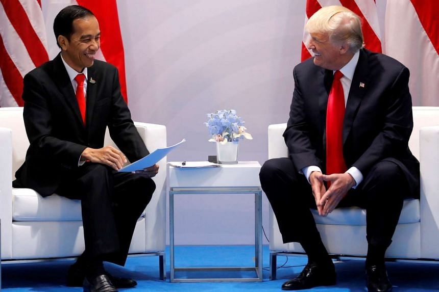 Indonesia's President Joko Widodo talks with US President Donald Trump during the G20 leaders summit in Hamburg, Germany on July 8, 2017.
