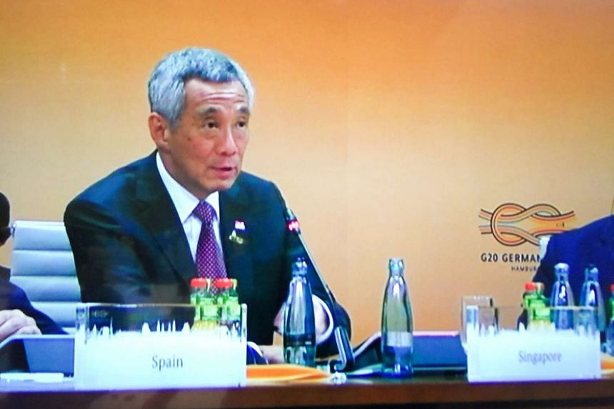 Prime Minister Lee Hsien Loong delivered his intervention on global growth and trade at the G-20 Hamburg Summit on July 7,  2017.