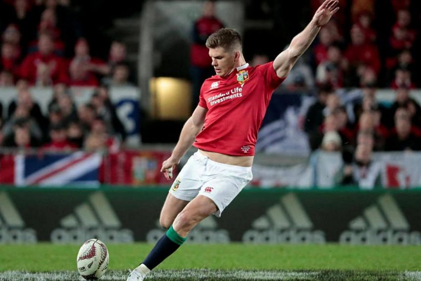 Lions' Owen Farrell in action scoring a penalty kick during rugby union match at Eden Park in Auckland on July 8, 2017.