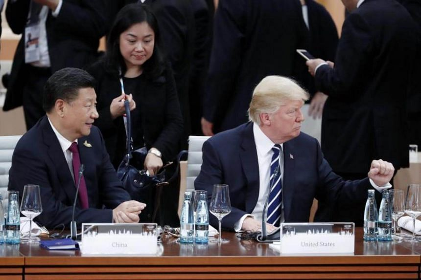 US President Donald Trump (right) gestures next to the Chinese President Xi Jinping (left) at the beginning of the plenary session of the G20 Summit in Hamburg, Germany, on July 7, 2017.