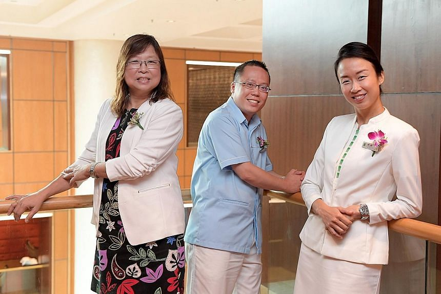 Recipients of the Nurses' Merit Award included (from far left) Ms Tan Meng Guek, assistant director of nursing, quality management and social services at Econ Healthcare; Mr Richard Low Sai Yin, senior nurse manager at National Healthcare Group Polyc