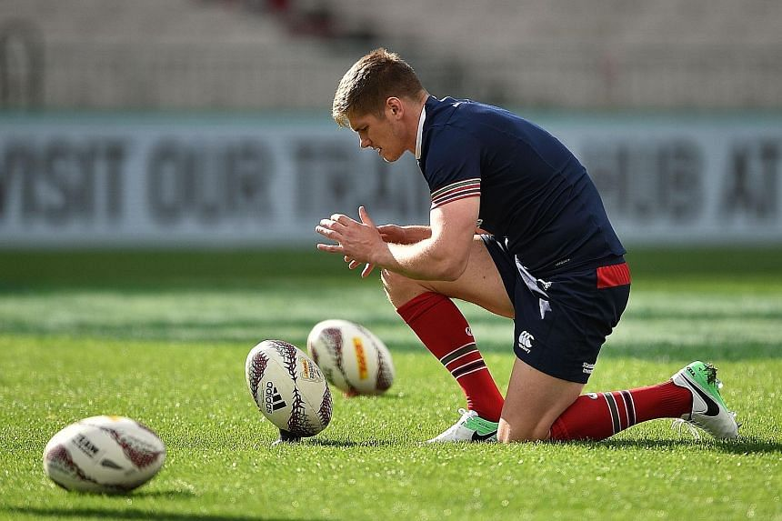 British Lions fly-half Owen Farrell honing his kicking ahead of the third and final Test against the All Blacks at Eden Park today. The series is evenly poised at 1-1.