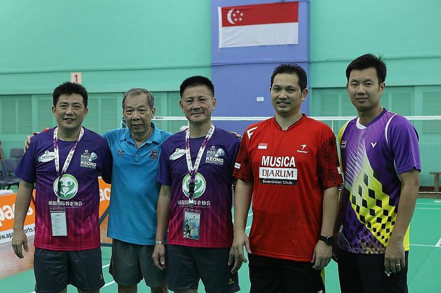 Former badminton greats are in town for the Foo Kok Keong International Cup, which is being held in Singapore for the first time. The previous five editions were staged in Shah Alam, Malaysia. The tournament began yesterday, with 16 teams comprising