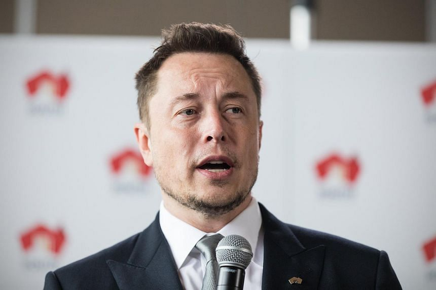 Tesla CEO Elon Musk speaks during a press conference at the Adelaide Oval in Adelaide, on July 7, 2017.