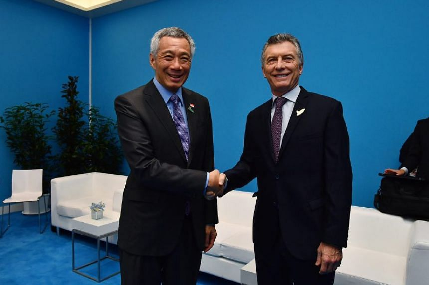 Prime Minister Lee Hsien Loong meeting with President of the Argentine Republic, President Mauricio Macri, at Hamburg Messe on July 8, 2017.