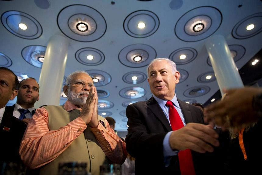 Indian Prime Minister Narendra Modi (left) and Israeli Prime Minister Benjamin Netanyahu attend an Innovation conference with Israeli and Indian CEOs in Tel Aviv, Israel, on July 6, 2017.