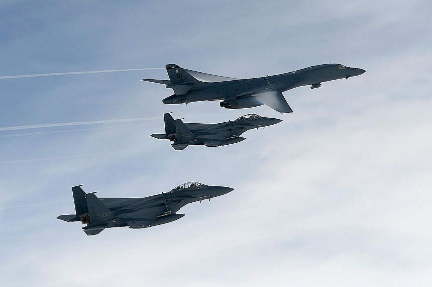 "US bombers and South Korean and US fighter jets were involved in yesterday's live-fire drill near the Demilitarised Zone, held in response to what the US describes as Pyongyang's ""increasingly escalatory actions""."