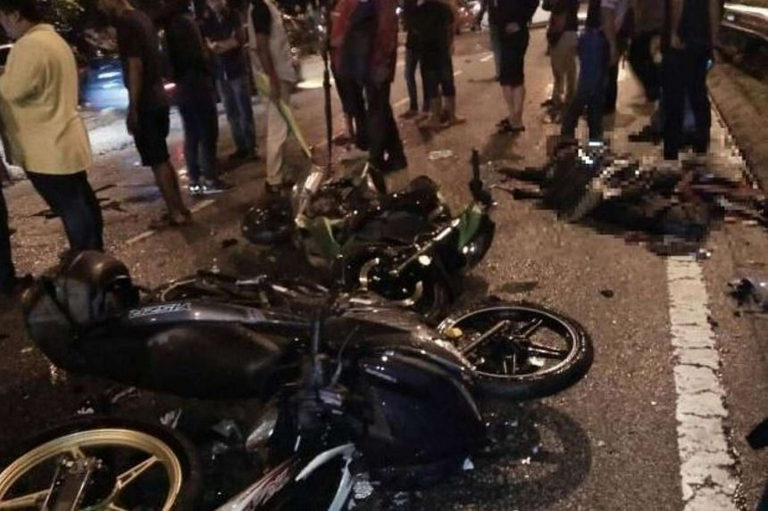 The two motorcyclists died on the spot after a car rammed into them.