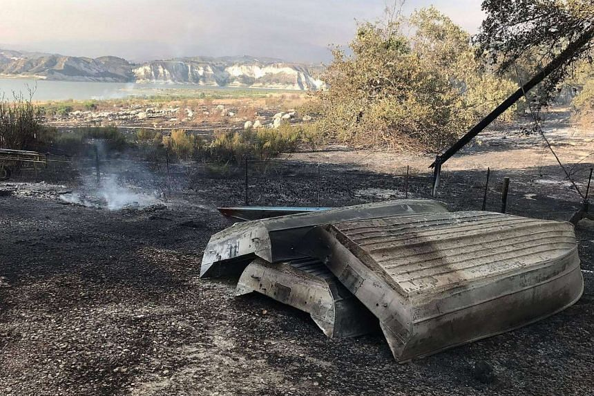 Burned boats and motors Cachuma Lake Campground in Los Padres National Forest on July 8, 2017.