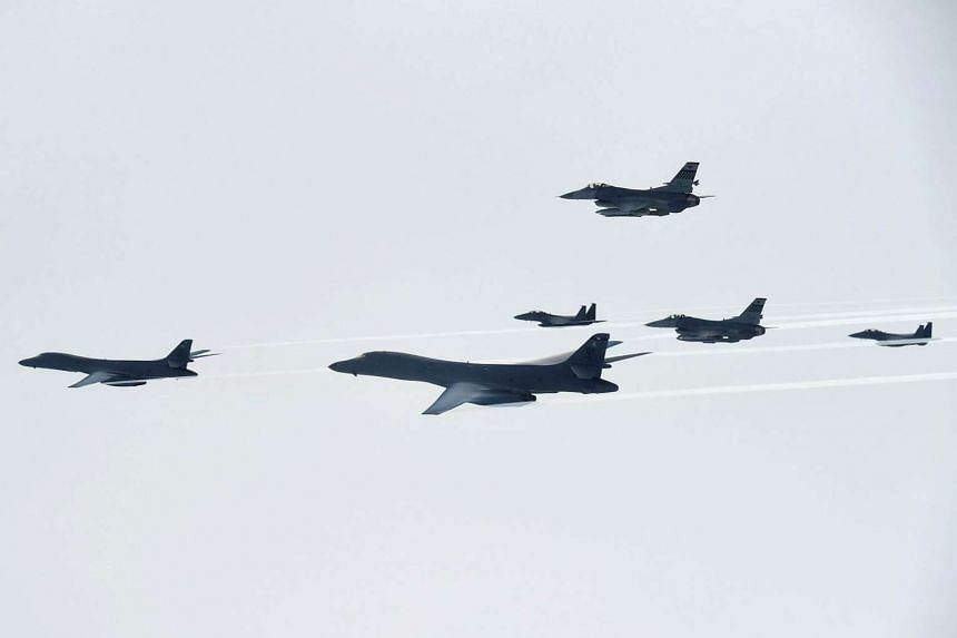 US bombers and fighter jets fly over South Korea during a joint live-fire drill on July 8, 2017.