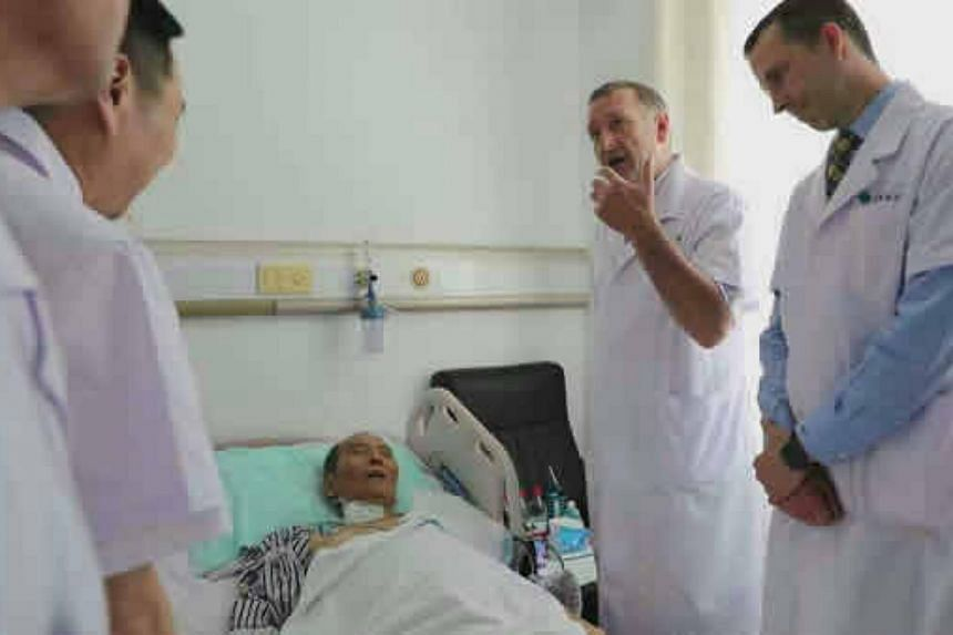 Chinese activist Liu Xiaobo receiving treatment at the First Hospital of China Medical University.