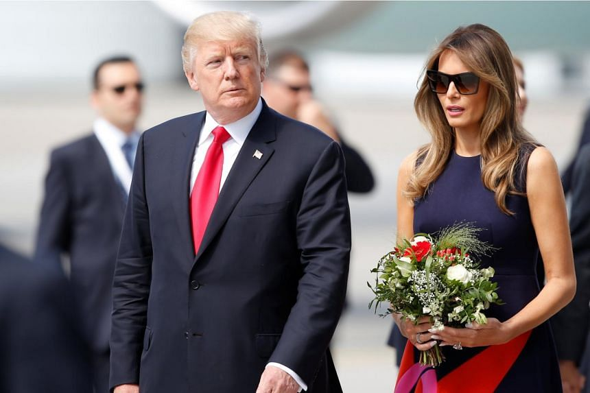 US President Donald Trump and First Lady Melania Trump arriving for the G20 leaders summit in Hamburg, Germany July 6, 2017.