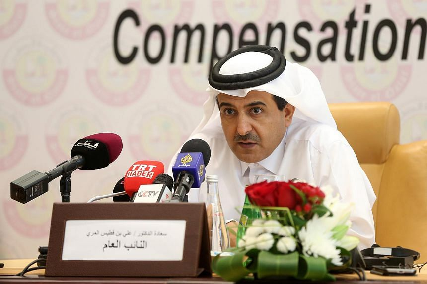 Qatar's Attorney General Ali bin Fetais al-Marri speaking after the launch of the Compensation Claims Committee at a press conference in Doha on July 9, 2017.