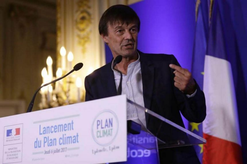 French Minister of Ecological and Inclusive Transition Nicolas Hulot delivers a speech to present his plan on climate in Paris, on July 6, 2017.