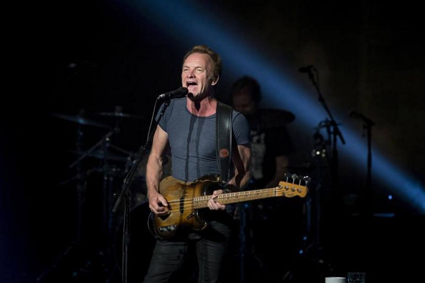 British singer musician and composer Sting perfoms on stage at Royal Theatre of Madrid, Spain, on July 5, 2017.