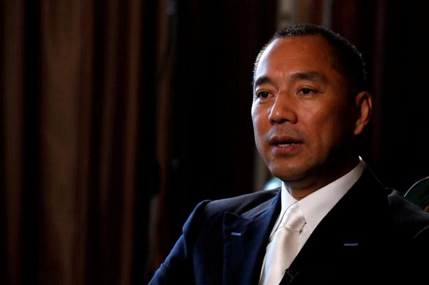 Billionaire businessman Guo Wengui speaks during an interview in New York City, US, on April 30, 2017.