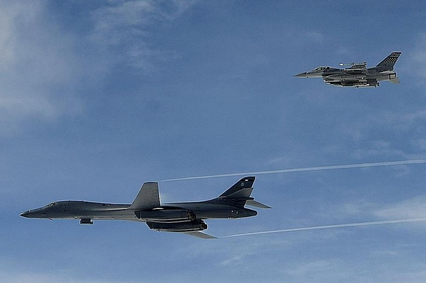 Military jets flying over South Korea during a joint live-fire drill by the South and the US.