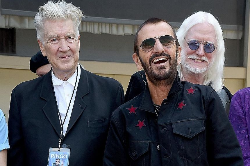 (From left) Director David Lynch and musicians Ringo Starr and Edgar Winter at Starr's birthday celebration last Friday.