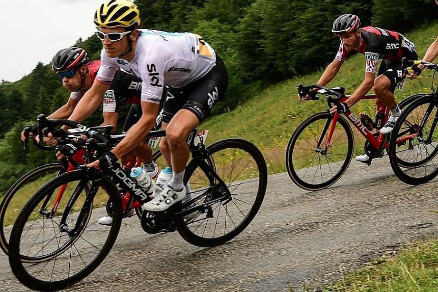 Australian Richie Porte (from left) and Briton Geraint Thomas will drop out of the Tour de France, having suffered injuries.