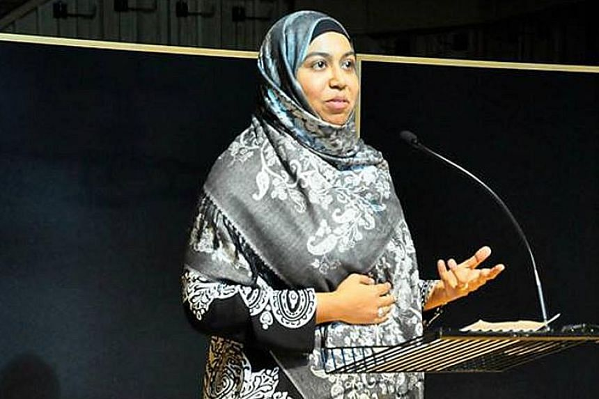 Mrs Shereen Williams at Waging Love, a symposium which she hosted with Muslim scholars at the Wales Millennium Centre in Cardiff in 2015.
