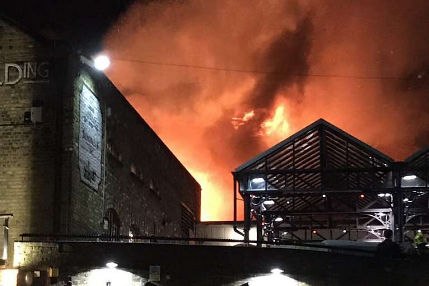 The first, second and third floors and the roof of Camden Market were on fire on July 10, 2017.