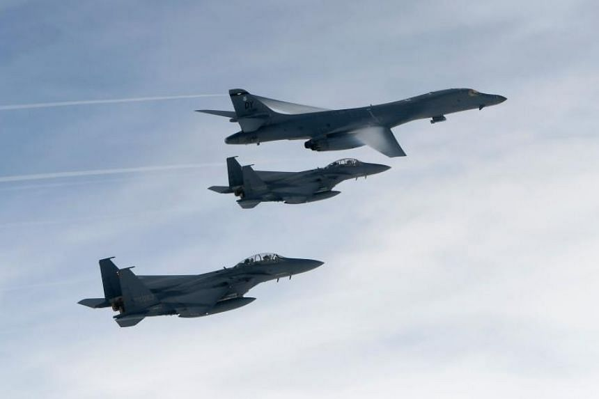 US bombers and fighter jets flying over South Korea during a joint live-fire drill on July 8, 2017.
