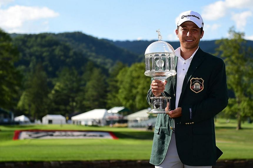 Xander Schauffele posing with the trophy after the final round of The Greenbrier Classic, on July 9, 2017.