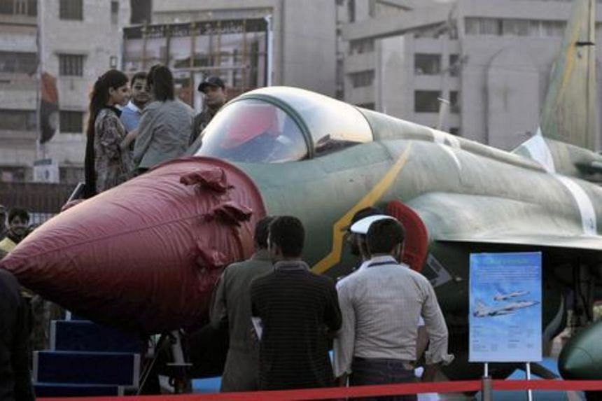 A PAC JF-17 Thunder multirole combat aircraft, conceived and initially developed with the help of China, in Karachi on December 3, 2014.