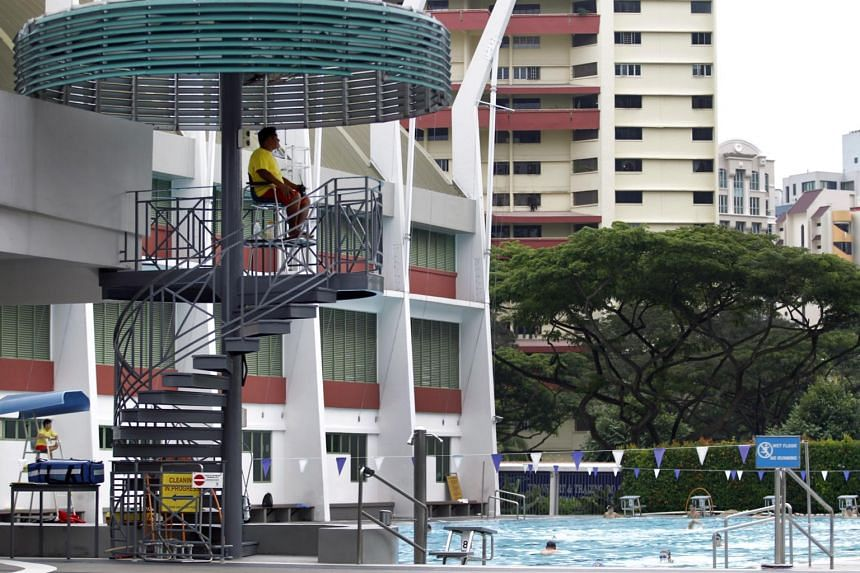 A lifeguard is seen on duty at the Toa Payoh Swimming Complex.