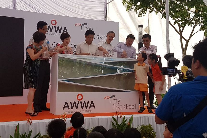 The opening of My First Skool childcare centre and Awwa Early Intervention Centre at Fernvale Link in Sengkang.