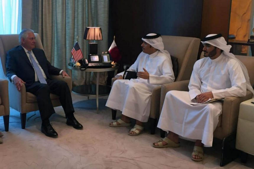 US Secretary of State Rex Tillerson meets with Qatar's Foreign Minister Sheikh Mohammed bin Abdulrahman al-Thani (2-right) in Doha, Qatar, on July 11, 2017.