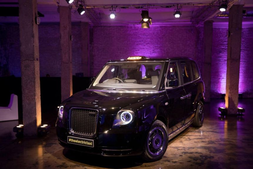 The new TX electric black taxi, manufactured by the London EV Co., stands during its unveiling in London, UK, on July 11, 2017.