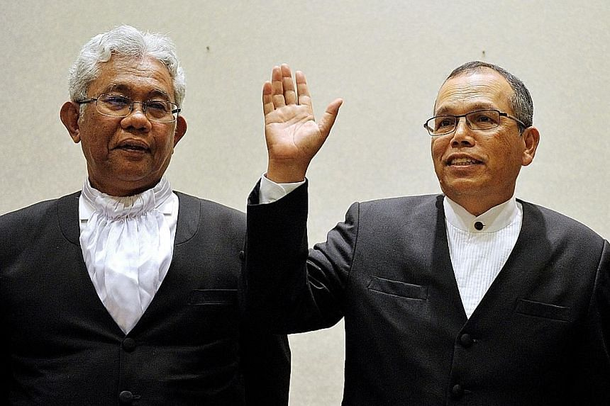 """President of Court of Appeal Zulkefli Ahmad Makinudin (left) and Chief Justice Md Raus Sharif, due to retire in September and August respectively, are being appointed """"additional judges"""" to the Federal Court."""