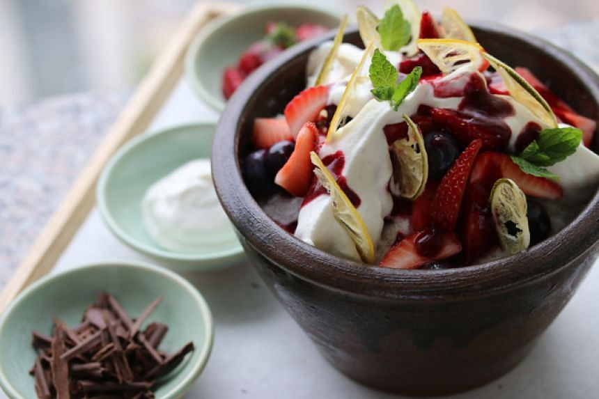 The makgeolli bingsu - made of rice wine, fruit and toppings - is available at The Lounge of the Park Hyatt Seoul hotel.