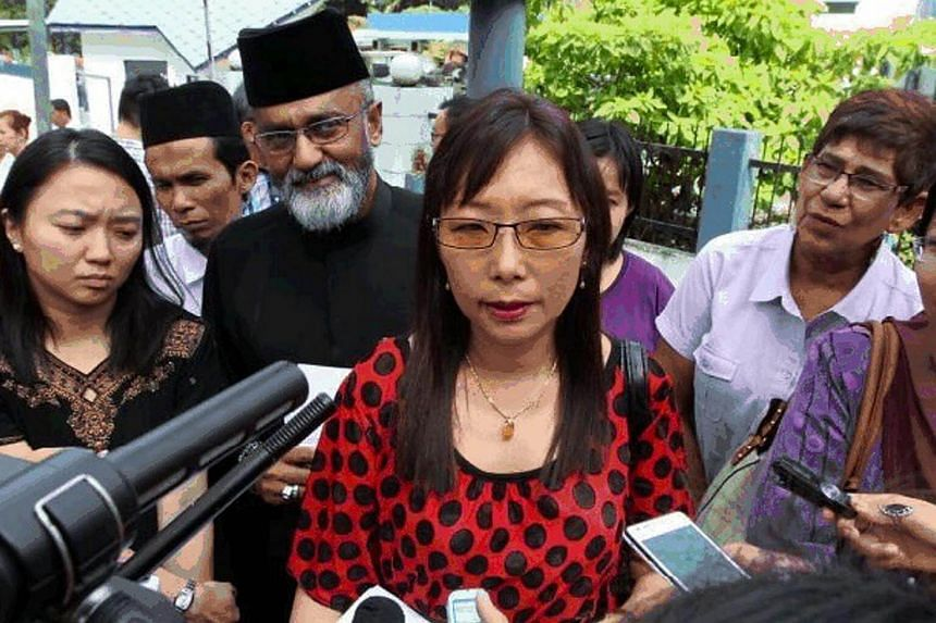 Malaysian opposition politician Teresa Kok being interviewed by the media in Malaysia on May 6, 2014.