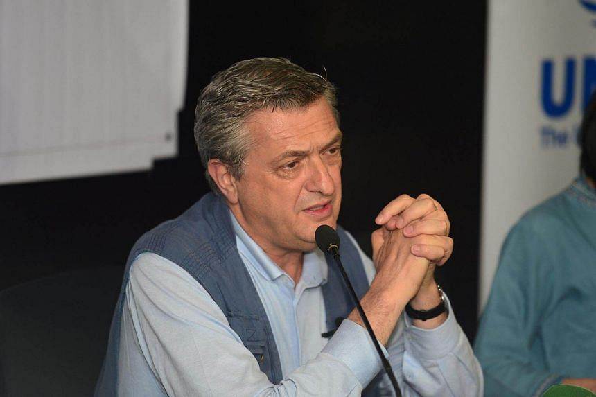 United Nations High Commissioner for Refugees Filippo Grandi speaking at a press conference in Dhaka, on July 10, 2017.