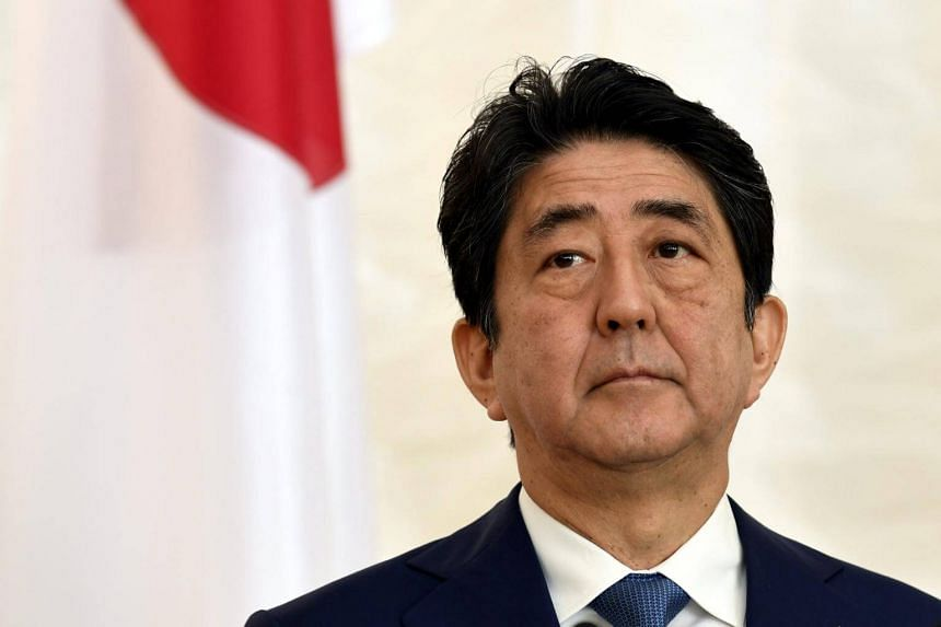 Japanese Prime Minister Shinzo Abe attends a press conference at the Presidential Palace in Helsinki, Finland, on July 10, 2017.