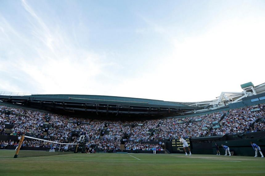 The fourth round match between Luxembourg's Gilles Muller and Spain's Rafael Nadal at Wimbledon on July 10, 2017.