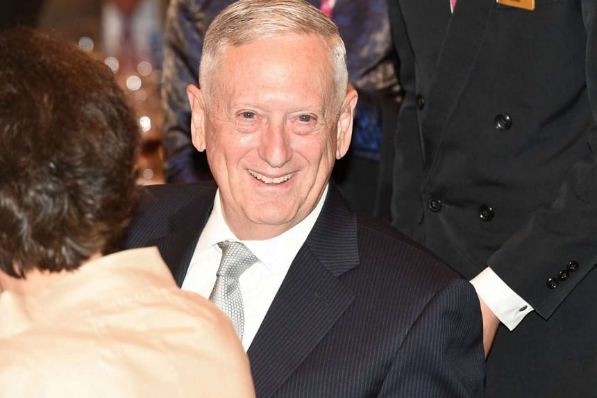 US Pentagon chief Jim Mattis attends the opening dinner of the Institute for Strategic Studies, Shangri-La Dialogue summit in Singapore on June 2, 2017.
