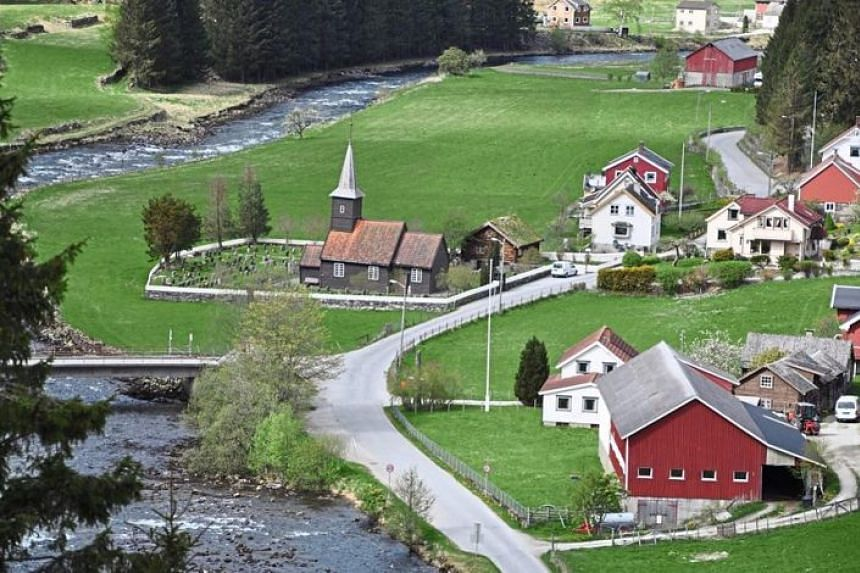 View of picturesque Flam from the Flamsbana, Norway