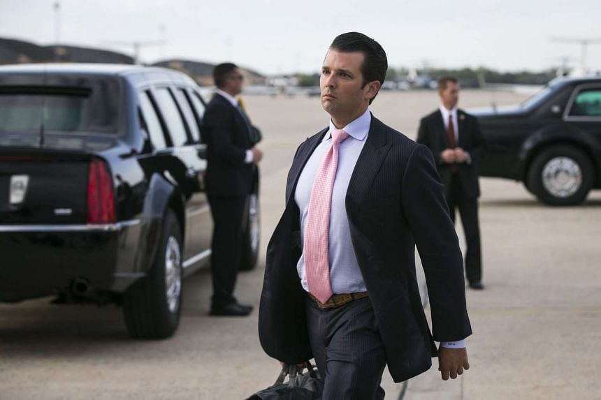 Donald Trump Jr. arrives on Air Force One at Joint Base Andrews in Maryland, on April 16, 2017.